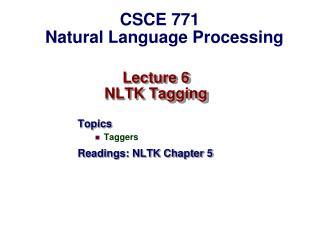 Lecture 6  NLTK Tagging