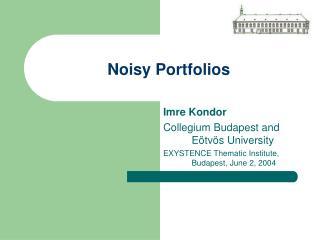 Noisy Portfolios