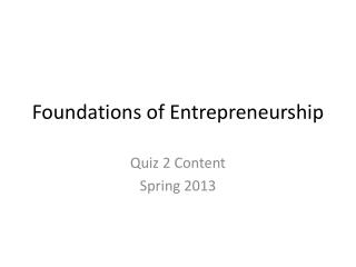 Foundations of Entrepreneurship
