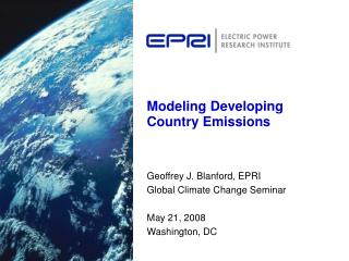 Modeling Developing Country Emissions