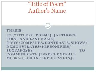 """Title of Poem"" Author's Name"