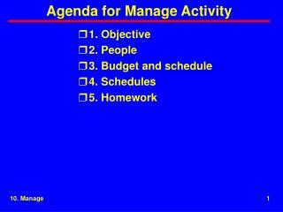 Agenda for Manage Activity