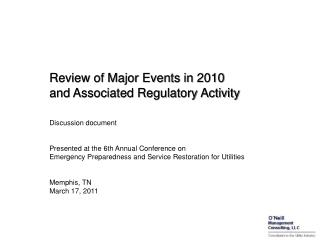 Review of Major Events in 2010 and Associated Regulatory Activity