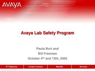 Avaya Lab Safety Program