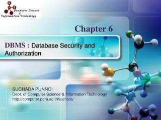DBMS :  Database Security and Authorization