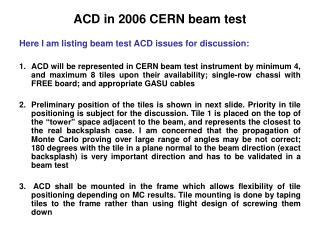ACD in 2006 CERN beam test