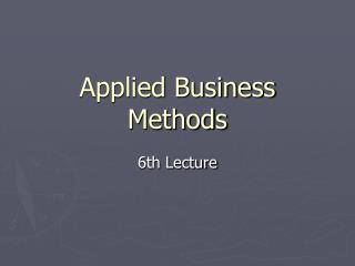 Applied  Business  Methods