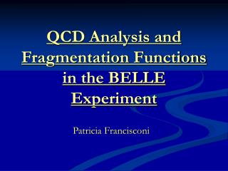QCD Analysis and Fragmentation Functions in the BELLE Experiment