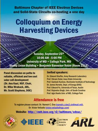 Baltimore Chapter of IEEE Electron Devices  and Solid-State Circuits co-hosting a one day