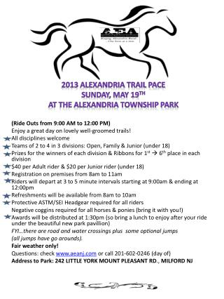 2013 Alexandria Trail Pace Sunday, May 19 th At the Alexandria Township Park