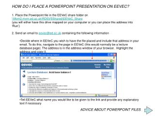 HOW DO I PLACE A POWERPOINT PRESENTATION ON EEVEC?