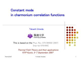 Constant mode  in charmonium correlation functions