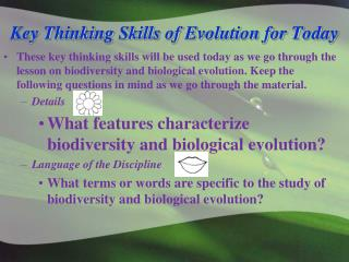 Key Thinking Skills of Evolution for Today