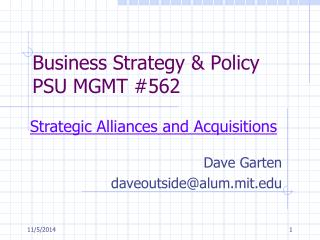 Business Strategy & Policy PSU MGMT #562
