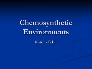 Chemosynthetic Environments