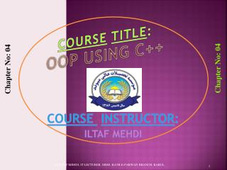 Course Title : OOP Using C++