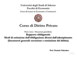 Universit  degli Studi di Salerno Facolt  di Economia Corso di Laurea in Economia e Commercio