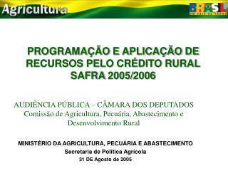 PROGRAMAÇÃO E APLICAÇÃO DE RECURSOS PELO CRÉDITO RURAL SAFRA 2005/2006