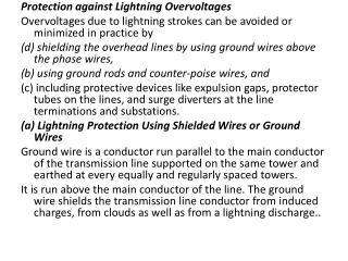 Protection against Lightning  Overvoltages