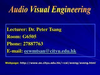 Lecturer: Dr. Peter Tsang Room: G6505 Phone: 27887763 E-mail:  eewmtsan@cityu.hk