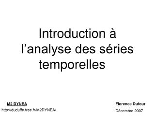 Introduction à l'analyse des séries temporelles