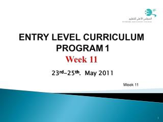 ENTRY LEVEL CURRICULUM  PROGRAM 1  Week 11
