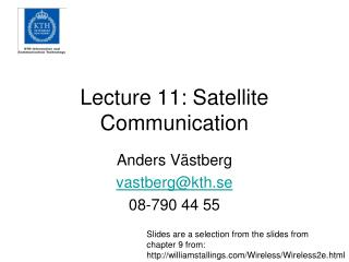 Lecture 11: Satellite Communication