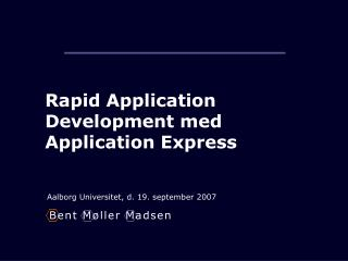 Rapid Application Development med Application Express