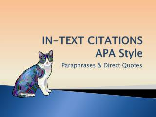 IN-TEXT CITATIONS  APA Style