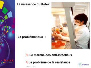La naissance du Ketek :  La problématique  :  Le marché des anti-infectieux