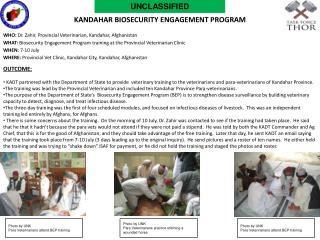Kandahar  biosecurity  engagement program
