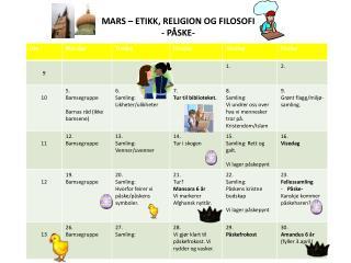MARS – ETIKK, RELIGION OG FILOSOFI - PÅSKE-