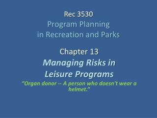 Rec 3530 Program Planning  in Recreation and Parks