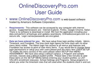 OnlineDiscoveryPro User Guide
