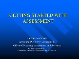 GETTING STARTED WITH ASSESSMENT