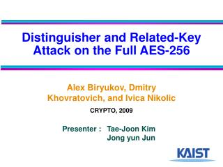 Distinguisher and Related-Key Attack on the Full AES-256