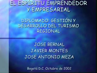 EL ESPÍRITU EMPRENDEDOR Y EMPRESARIAL DIPLOMADO: GESTIÓN Y DESARROLLO DEL TURISMO REGIONAL