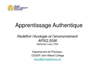 Apprentissage Authentique