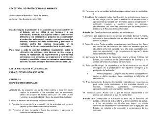 LEY ESTATAL DE PROTECCION A LOS ANIMALES (Publicada en el Periódico Oficial del Estado,