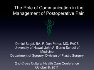 The Role of Communication in the Management of Postoperative Pain