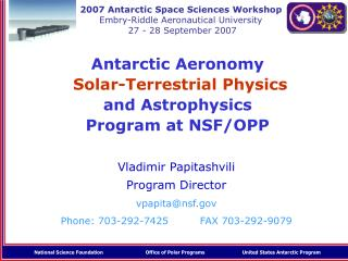 Antarctic Aeronomy  Solar-Terrestrial Physics and Astrophysics Program at NSF/OPP