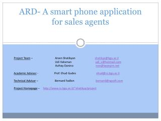 ARD-  A smart phone application  for sales agents