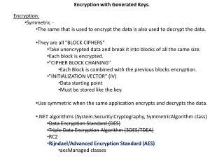 Encryption with Generated  K eys.