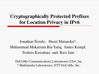 Cryptographically Protected Prefixes for Location Privacy in IPv6