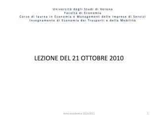 LEZIONE DEL 21 OTTOBRE 2010