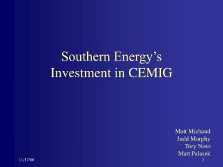 Southern Energy's Investment in CEMIG