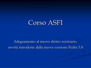 Corso ASFI