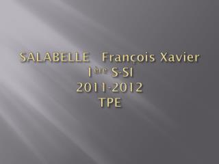 SALABELLE   François Xavier 1 ère  S-SI 2011-2012 TPE