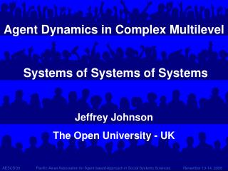 Agent Dynamics in Complex Multilevel  Systems of Systems of Systems Jeffrey Johnson