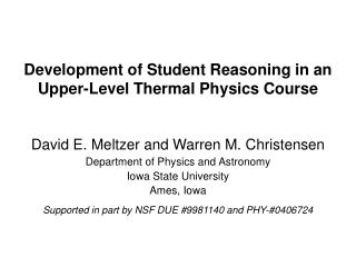 Development of Student Reasoning in an Upper-Level Thermal Physics Course
